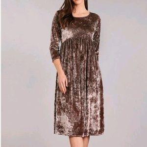 Velvet 3/4 sleeve empire waist midi dress